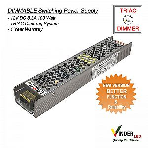 Vinder TRIAC Dimmable Power Supply 12V DC 8A 100Watt - New Version