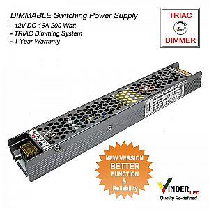 Vinder TRIAC Dimmable Power Supply 12V DC 16A 200Watt - New Version